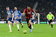 Dominic Solanke (9) of AFC Bournemouth on the attack during the Premier League match between Bournemouth and Brighton and Hove Albion at the Vitality Stadium, Bournemouth, England on 21 January 2020.