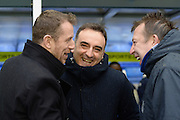 Birmingham City first team manager Gary Rowett and Sheffield Wednesday head coach Carlos Carvalhal meet during the Sky Bet Championship match between Birmingham City and Sheffield Wednesday at St Andrews, Birmingham, England on 6 February 2016. Photo by Jon Hobley.