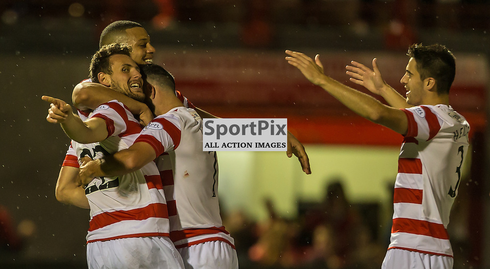 Tony Andreu celebrates his second goal with Mickael Antoine Curier, Dougie Imre and Stephen Hendrie during the SPL clash between Hamilton Accies and Aberdeen (c) ROSS EAGLESHAM   SportPix.co.uk