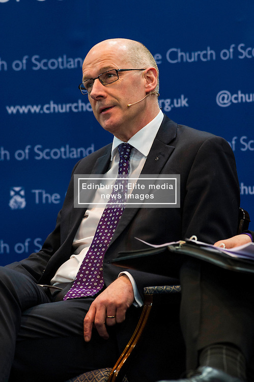 Pictured: John Swinney<br /> <br /> The People Politics Hustings,  organised by the Church of Scotland, allowed voters to question SNP deputy John Swinney, Scottish Labour leader Kezia Dugdale, Scottish Liberal Democrat leader Willie Rennie, Scottish Greens co-convener Patrick Harvie and former Scottish Conservatives leader Annabel Goldie ahead of the Scottish Elections. Before the politicians had a chance to speak they had a chance to listen to five speakers with different viewpoints on how Scotland has supported them in the past and how it should support them in the future..<br /> Ger Harley | EEm 4 April 2016