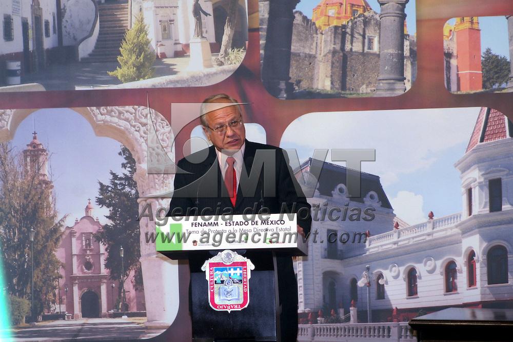 Toluca, México.- Héctor Agustín Munguía Lardizábal,  alcalde de Ciudad Juárez, y presidente ejecutivo de la FENAMM durante la tomá de protesta de la nueva mesa directiva de esta federación.  Agencia MVT / José Hernández