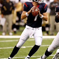 August 21, 2010; New Orleans, LA, USA; Houston Texans quarterback Dan Orlovsky (7) during a 38-20 win by the New Orleans Saints over the Houston Texans during a preseason game at the Louisiana Superdome. Mandatory Credit: Derick E. Hingle