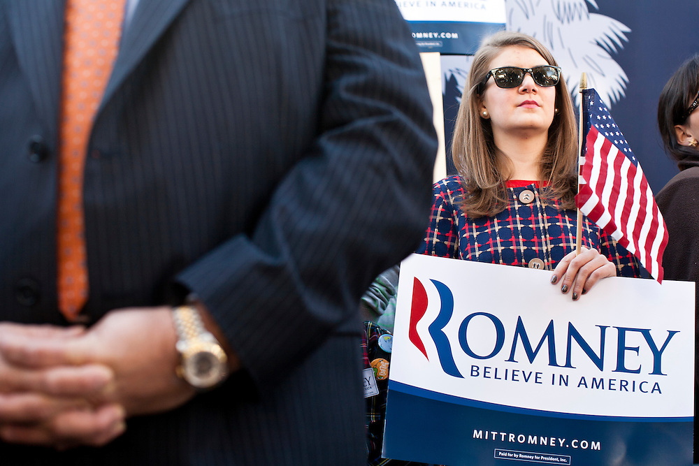 Republican presidential candidate Mitt Romney holds a campaign rally on Wednesday, January 18, 2012 in Spartanburg, SC.