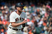 San Francisco Giants right fielder Hunter Pence (8) runs out a hit against the Colorado Rockies at AT&T Park in San Francisco, California, on September 20, 2017. (Stan Olszewski/Special to S.F. Examiner)