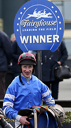 Roger Loughran in the parade ring after winning the Mongey Communications Beginners Steeplechase aboard Screaming Colours during The Easter Tuesday Meeting at Fairyhouse, Ratoath.