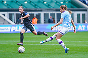 Manchester City Women forward Janine Beckie (11) takes a shot during the FA Women's Super League match between Manchester City Women and BIrmingham City Women at the Sport City Academy Stadium, Manchester, United Kingdom on 12 October 2019.