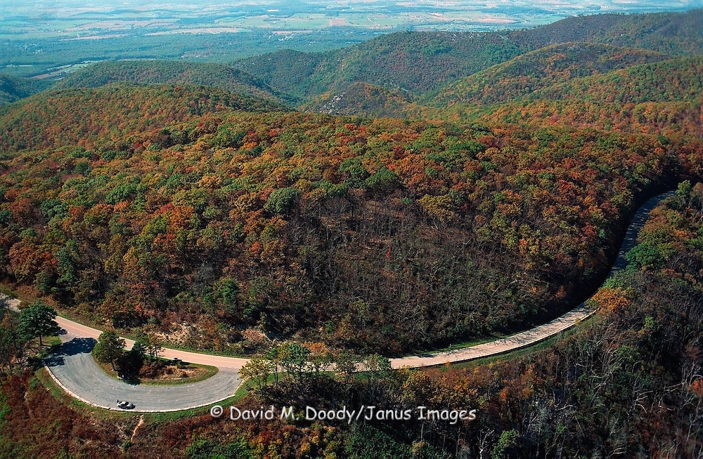 Scenic Aerial view: Skyline Drive National Park, Shenandoah Mountains, Virginia Looking West into the Shenandoah Valley