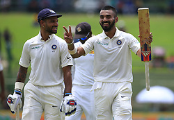 August 12, 2017 - Colombo, Sri Lanka - Indian cricketers ..Lokesh Rahul and ..Shikhar Dhawan walk back to the pavilion after the end of the 1st session at the 1st Day's play in the 3rd Test match between Sri Lanka and India at the Pallekele International cricket stadium, Kandy, Sri Lanka on Saturday 12 August 2017. (Credit Image: © Tharaka Basnayaka/NurPhoto via ZUMA Press)