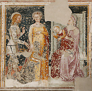 Detail of fresco depicting a Knight presented by St George to the Virgin, by Badile Bartolomeo, 14th Century, in the Chiesa S. Giorgetto dei Domenicani, also known as S. Pietro Martire, 1283, Verona, Italy. The Church, built by the Dominicans, contains 14th century frescoes which were covered over during the 19th century and damaged when the layer of plaster was later removed. They depict the Brandenburg Knights who arrived in Verona in 1354 to work with Cangrande II. Picture by Manuel Cohen.