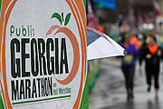 Despite a steady rain, runners participate in the Publix Georgia Marathon & Half Marathon, Luckie 5K and Wheelchair Half Marathon on Sunday, March 22, 2015, in Atlanta. David Tulis / AJC Special