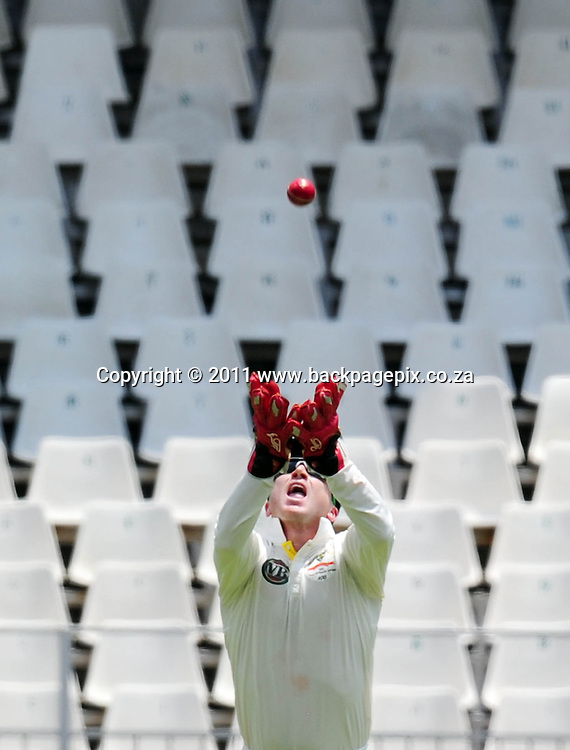 Brad Haddin of Australia catches Jacques Rudolph of South Africa off the bowling of Patrick Cummins of Australia <br /> &copy; Barry Aldworth/Backpagepix