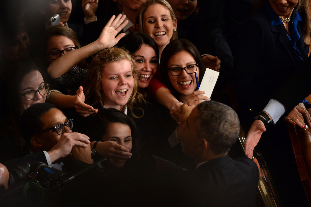 1/20/15 {time} -- Washington, DC, U.S.A  -- Senate pages greet President Barack Obama after he delivers the State of the Union address on Tuesday, Jan. 20, 2015 from the House chamber of the United States Capitol in Washington. --    Photo by H. Darr Beiser, USA TODAY staff (Via OlyDrop)