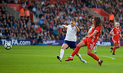 SOUTHAMPTON, ENGLAND - Friday, April 6, 2018: Wales' Natasha Harding shoots but sees her goal not given during the FIFA Women's World Cup 2019 Qualifying Round Group 1 match between England and Wales at St. Mary's Stadium. (Pic by David Rawcliffe/Propaganda)