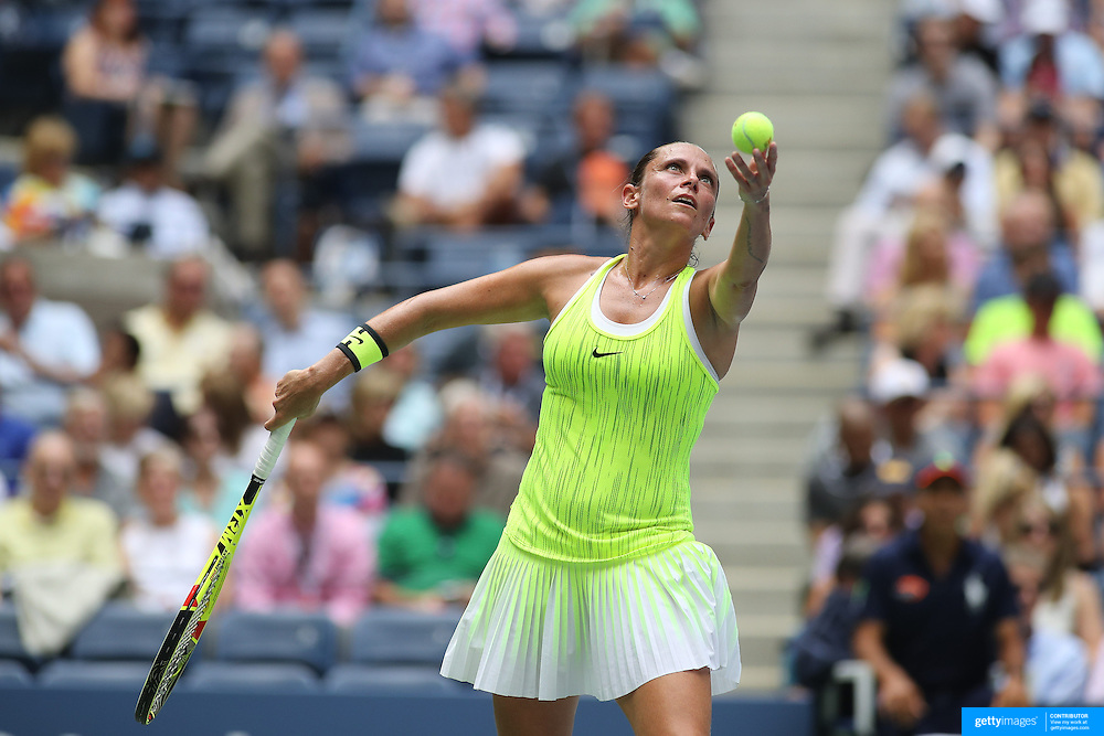 2016 U.S. Open - Day 9  Roberta Vinci of Italy in action against Angelique Kerber of Germany in the Women's Quarterfinal match on Arthur Ashe Stadium on day nine of the 2016 US Open Tennis Tournament at the USTA Billie Jean King National Tennis Center on September 6, 2016 in Flushing, Queens, New York City.  (Photo by Tim Clayton/Corbis via Getty Images)