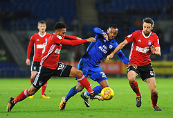Grant Ward of Ipswich Town  competes with Loic Damour of Cardiff City   - Mandatory by-line: Nizaam Jones/JMP - 31/10/2017 -  FOOTBALL - Cardiff City Stadium- Cardiff, Wales -  Cardiff City v Ipswich  Town- Sky Bet Championship