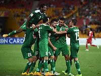 Fotball<br /> 12.01.2015<br /> Asian Cup / Asiamesterskapet<br /> Irak v Jordan<br /> Foto: imago/Digitalsport<br /> NORWAY ONLY<br /> <br /> Iraqi teamates celebrate a goal during a Group D match against Jordan at the AFC Asian Cup in Brisbane