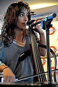 Alexandra Lawn, Ra Ra Riot performing at Waterloo Records, Austin Texas, October 3 2008.