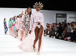 Finale of the Ravensbourne College show at Graduate Fashion Week in London , Monday, 3rd June 2013<br /> Picture by:  Stephen Lock / i-Images