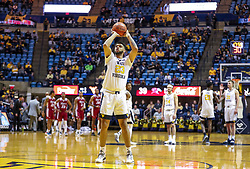 Nov 28, 2018; Morgantown, WV, USA; West Virginia Mountaineers forward Esa Ahmad (23) shoots a foul shot after a technical foul during the second half against the Rider Broncs at WVU Coliseum. Mandatory Credit: Ben Queen-USA TODAY Sports