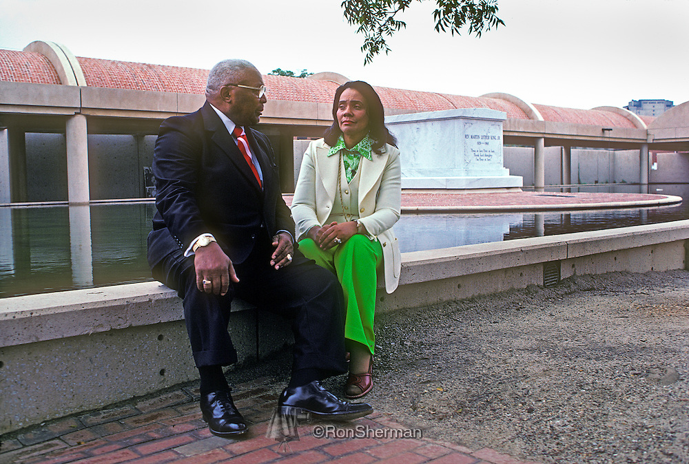 Rev ML (Daddy) King Sr and Coretta Scott King at the reflecting pool by Dr ML King Jr crypt at the ML King Center in Atlanta GA 1977