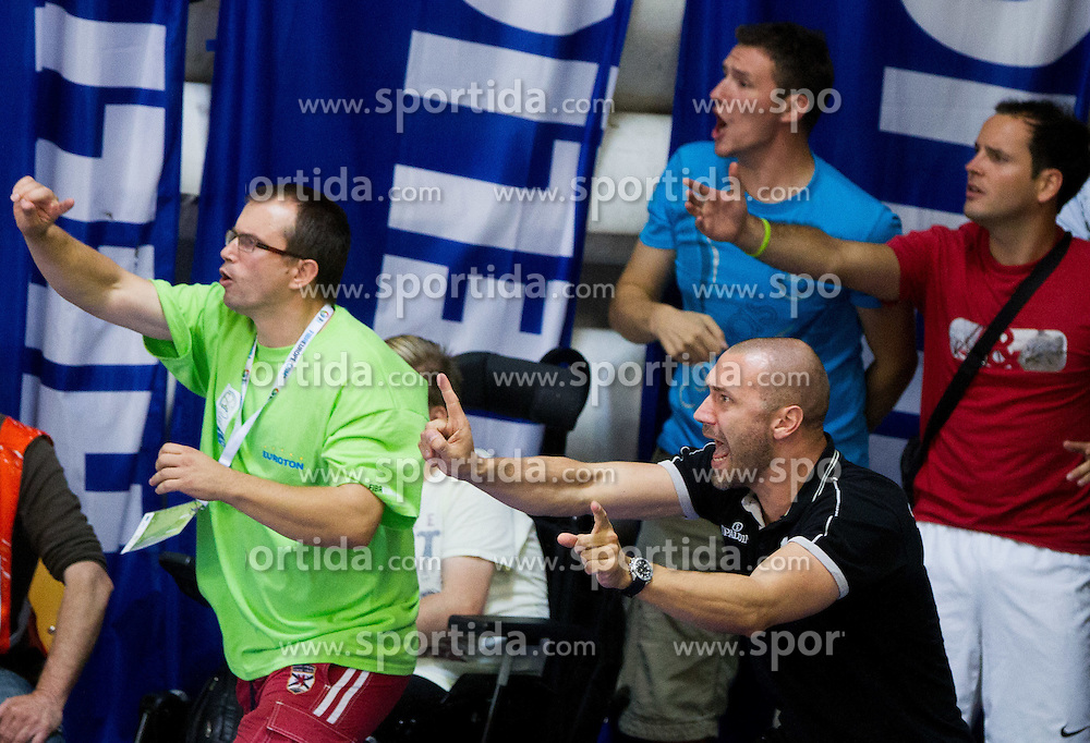 Igor Bosnjak reacts during basketball match between National teams of Turkey and Slovenia in Qualifying Round of U20 Men European Championship Slovenia 2012, on July 17, 2012 in Domzale, Slovenia. Slovenia defeated Turkey 72-71 in last second of the game. (Photo by Vid Ponikvar / Sportida.com)