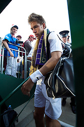 LONDON, ENGLAND - Wednesday, June 23, 2010: Nicolas Mahut (FRA) leaves court 18 after his record-breaking marathon Gentlemen's Singles 1st Round match, which ended due to bad light at 59-59 in the fifth set, on day three of the Wimbledon Lawn Tennis Championships at the All England Lawn Tennis and Croquet Club. (Pic by David Rawcliffe/Propaganda)