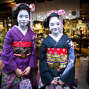KYOTO , JAPAN - JANUARY 10 : A maiko dress in Kimono posed for photograph in the street of Kiyomizu-dera, Kyoto prefecture, Japan on Sunday, January 10, 2016.  Photo: Richard Atrero de Guzman
