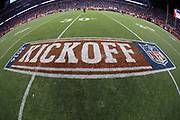 The 2016 NFL Kickoff logo is painted on the field in this photograph taken after the Denver Broncos 2016 NFL week 1 regular season football game against the Carolina Panthers on Thursday, Sept. 8, 2016 in Denver. The Broncos won the game 21-20. (©Paul Anthony Spinelli)