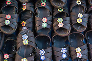 Rbber sandals on display at the Pisac Market, Sacred Valley, Peru