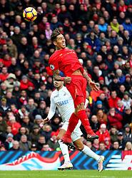 Roberto Firmino of Liverpool wins a header - Mandatory by-line: Matt McNulty/JMP - 21/01/2017 - FOOTBALL - Anfield - Liverpool, England - Liverpool v Swansea City - Premier League