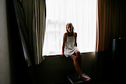 Emily Haines, 32, of the band Metric in her K-West Hotel room in London, United Kingdom on August 24, 2006. The Canadian musician is also known for playing in the band Broken Social Scene.