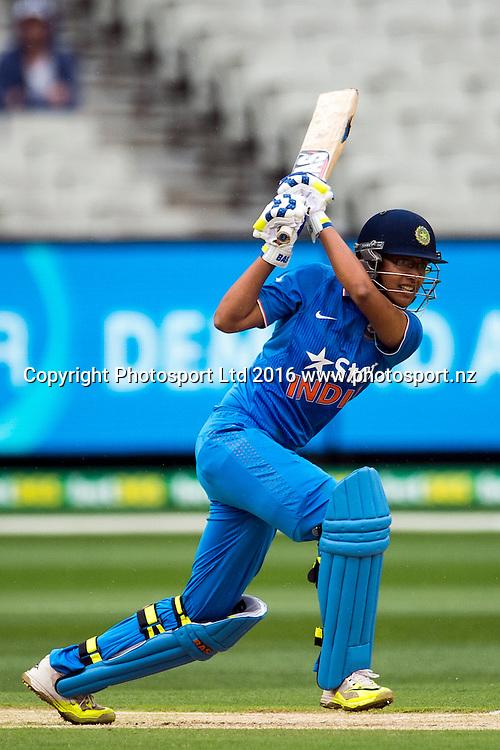 India's Smriti Mandhana in action during the Women's Twenty20 match between Australia and India at the MCG in Melbourne, Australia. Friday 29 January 2016. Copyright photo: Raghavan Venugopal / www.photosport.nz