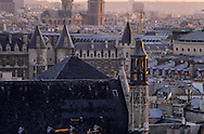 France. Paris elevated view on Paris cityscape at dusk ,