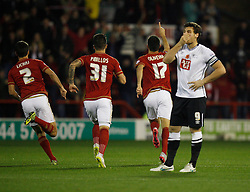 Nelson Oliveira of Nottingham Forest (C) celebrates scoring his sides first goal - Mandatory byline: Jack Phillips / JMP - 07966386802 - 6/11/2015 - FOOTBALL - The City Ground - Nottingham, Nottinghamshire - Nottingham Forest v Derby County - Sky Bet Championship