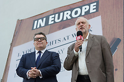 © Licensed to London News Pictures. 07/06/2016. LONDON, UK.  JEREMY CORBYN and TOM WATSON speaking at the launch of a new poster for the 'Labour In for Britain' campaign, to Remain in the European Union (EU) at Green Space in London..  Photo credit: Vickie Flores/LNP