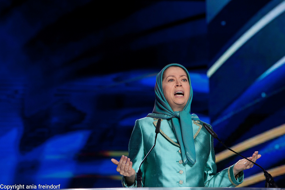 """Free Iran"", annual gathering of Iranian communities, Bourget, Paris, France, 9 July 2016, Maryam Rajavi is the President of the People's Mujahedin of Iran, an organisation that was funded, to help overthrow the Iranian government"