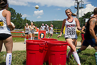 """""""Beauties and the Beer"""" team of Marci, Carly, Jessica and Katrina sink their shots during the """"Beer Pong"""" event in the Craft Beer Relay at Gunstock Mountain Resort on Saturday.  (Karen Bobotas/for the Laconia Daily Sun)"""