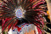Colourful headdress worn by Indian dancer, San Miguel de Allende, Mexico