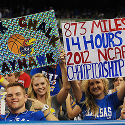 Apr 2, 2012; New Orleans, LA, USA; Kansas Jayhawks fans hold up signs before the finals of the 2012 NCAA men's basketball Final Four against the Kentucky Wildcats at the Mercedes-Benz Superdome. Mandatory Credit: Derick E. Hingle-US PRESSWIRE