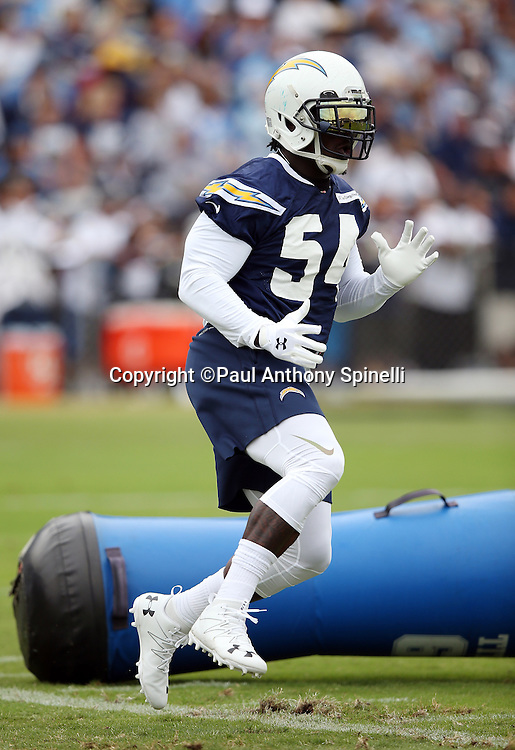 San Diego Chargers outside linebacker Melvin Ingram (54) runs a drill during the Chargers 2016 NFL minicamp football practice held on Tuesday, June 14, 2016 in San Diego. (©Paul Anthony Spinelli)