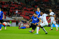 Raheem Sterling of England shot is wide - Mandatory byline: Jason Brown/JMP - 07966 386802 - 09/10/2015- FOOTBALL - Wembley Stadium - London, England - England v Estonia - Euro 2016 Qualifying - Group E