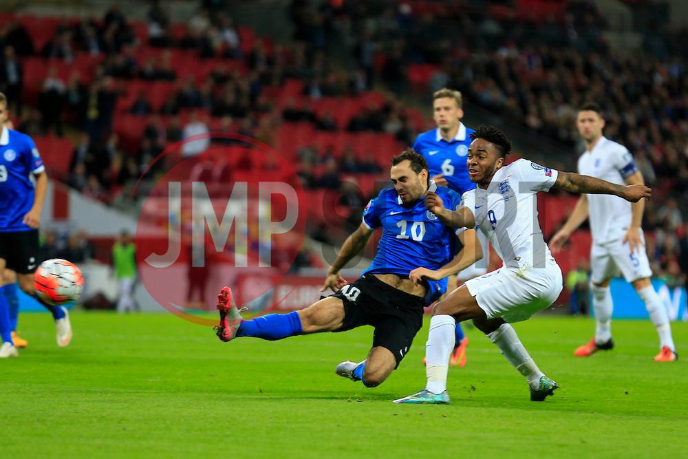 Raheem Sterling of England shot is wide - Mandatory byline: Jason Brown/JMP - 07966 386802 - 09/10/2015- FOOTBALL - Wembley Stadium - London, England - England v Estonia - Euro 2016 Qualifying - Group E