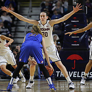 Breanna Stewart, UConn, guards Megan Rogowski, DePaul,  in action during the UConn Vs DePaul, NCAA Women's College basketball game at Webster Bank Arena, Bridgeport, Connecticut, USA. 19th December 2014