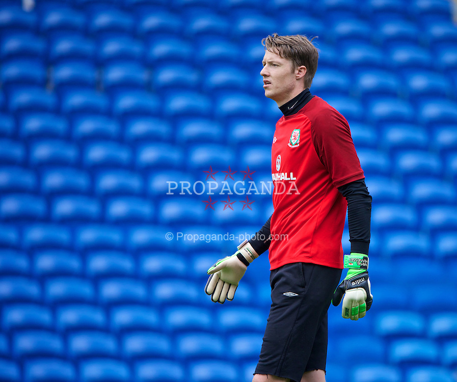 CARDIFF, WALES - Tuesday, August 13, 2013: Wales' goalkeeper Wayne Hennessey during a training session at the Cardiff City Stadium ahead of the International Friendly match against the Republic of Ireland. (Pic by David Rawcliffe/Propaganda)