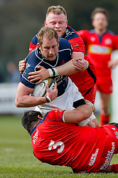 Bristol Rugby replacement Joe Joyce tackles London Scottish Lock Josh Thomas Brown - Mandatory byline: Rogan Thomson/JMP - 02/04/2016 - RUGBY UNION - Richmond Athletic Ground - London, England - London Scottish v Bristol Rugby - Greene King IPA Championship.
