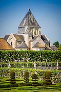 Village chapel and gardens, Chateau de Villandry, Villandry, Loire Valley, France