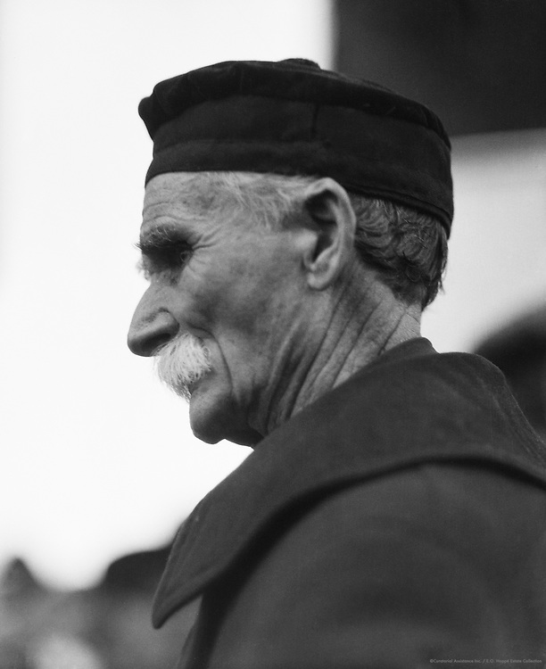 Type: Elderly Man With Flat Hat and Moustache, England, circa 1925