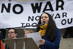 London, UK. 11 January, 2020. Amelia Womack, Deputy Leader of the Green Party, addresses the No War on Iran demonstration in Trafalgar Square organised by Stop the War Coalition and the Campaign for Nuclear Disarmament to call for deescalation in the Middle East following the assassination by the United States of Iranian General Qassem Soleimani and the subsequent Iranian missile attack on US bases in Iraq.