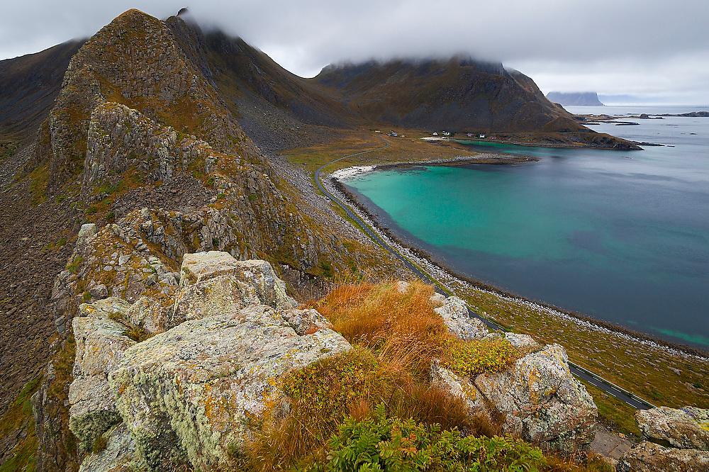 A hamlet on the  coast of Vaeroya, Lofoten Islands, Norway.
