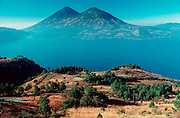 GUATEMALA, HIGHLANDS Lake Atitlan; surrounded by volcanoes